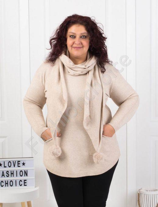 Плетена макси блуза с джобчета в светло бежово с подарък шал-Код 5363-5