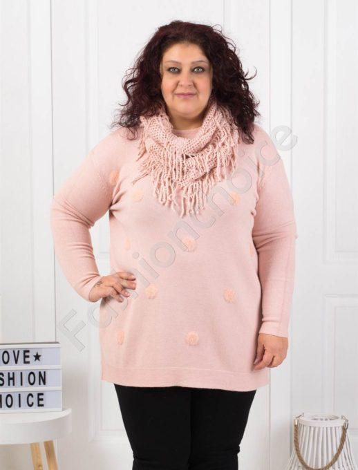 Фино плетена макси блуза в цвят пепел от рози с подарък шал-Код 095-1