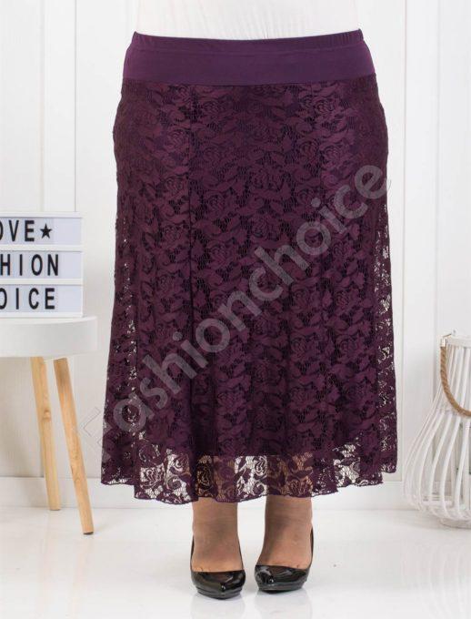 Елегантна макси дантелена пола в лилаво-код 475-1