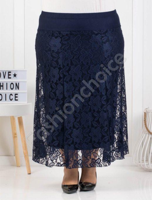 Елегантна макси дантелена пола в тъмно синьо-код 475-2