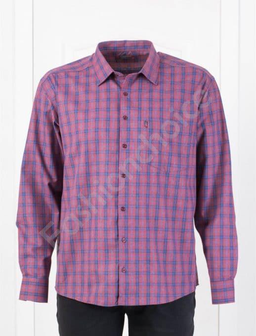 Плътна мъжка макси риза в десен на каре-бордо и синьо-код 1385