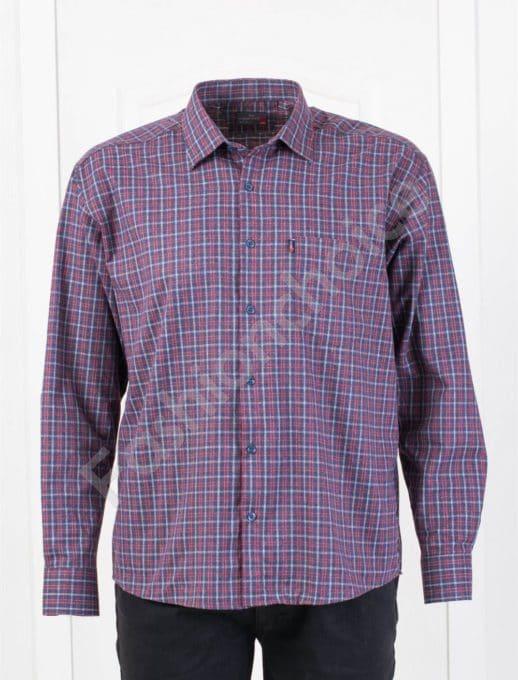 Плътна мъжка макси риза в десен на каре-синьо и бордо-код 1385-1