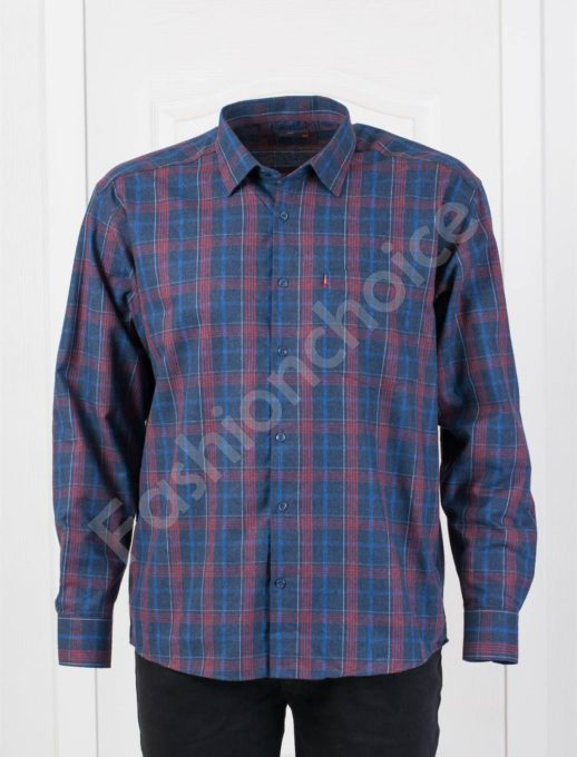 Плътна мъжка макси риза в десен на едро каре-бордо-код 1385-4