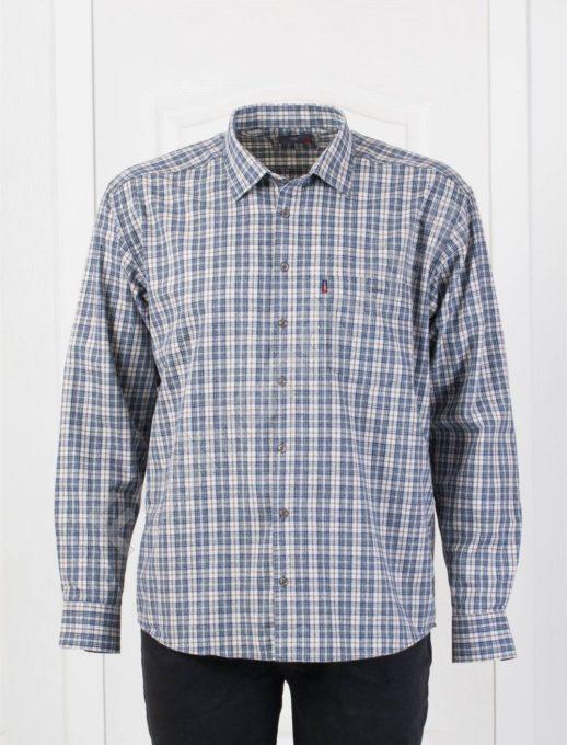 Плътна мъжка макси риза в десен на каре-бяло и синьо-код 1385-5
