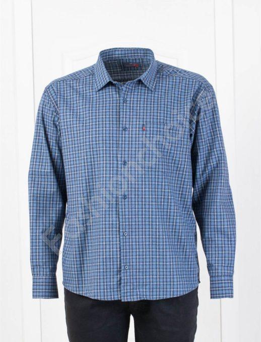 Плътна мъжка макси риза в десен на каре-тъмно синьо-код 1385-3