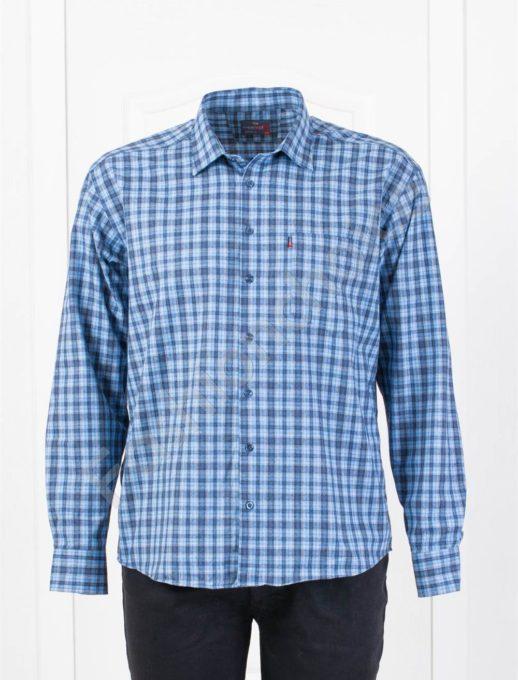 Плътна мъжка макси риза в десен на каре-светло синьо-код 1385-2