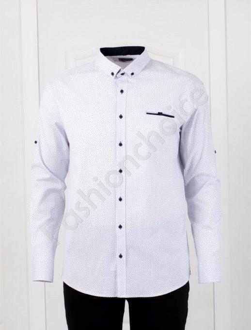 Прекрасна мъжка макси риза с джобче-бял цвят/7XL,8XL/-код 1169-5