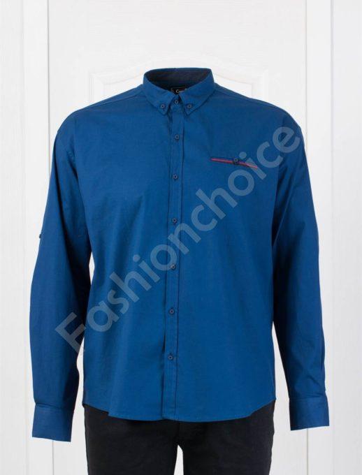 Едноцветна мъжка макси риза с джобче в синьо/7XL,8XL/-код 1169-6