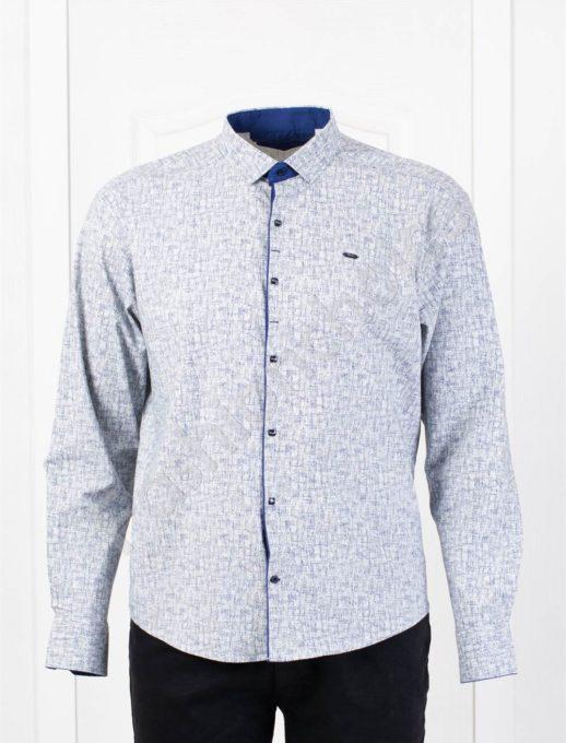 Елегантна мъжка макси риза в стилен десен-светло сиво-код 1386-1
