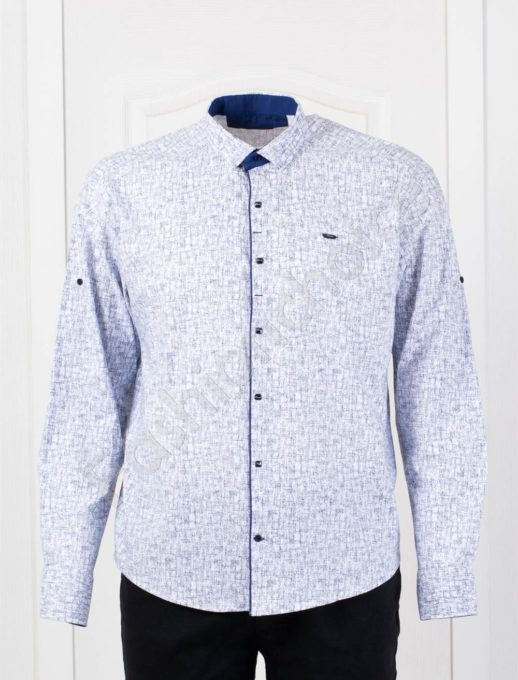 Елегантна мъжка макси риза в стилен десен-бяло-код 1386-3