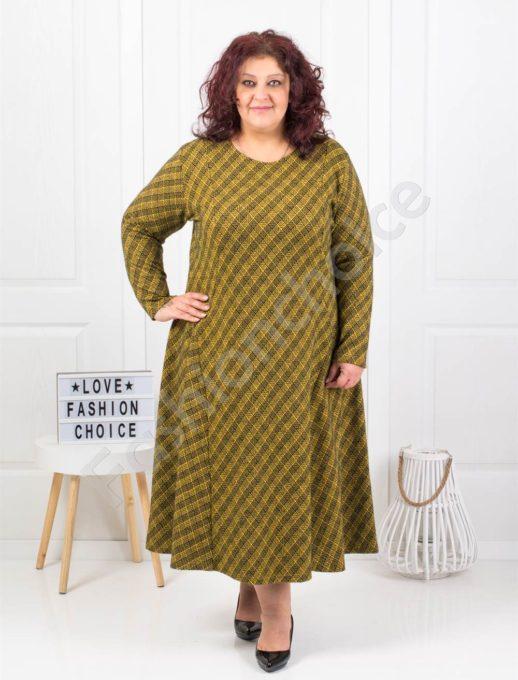 Плътна дълга макси рокля на нежно каре в цвят горчица-код 096