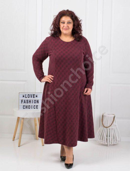 Плътна дълга макси рокля на нежно каре в цвят бордо-код 096-1