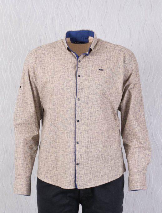Елегантна мъжка макси риза в стилен десен-бежево-код 1386-4