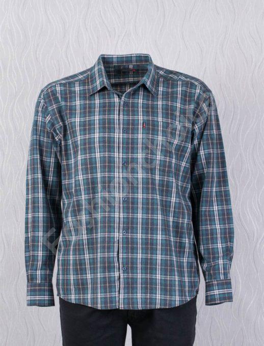 Плътна мъжка макси риза в десен на едро каре-зелено-код 1385-6