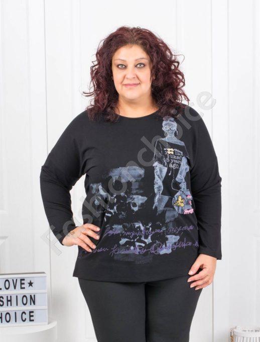 Комфортна макси блуза с модна щампа в черно- Код 6709-1