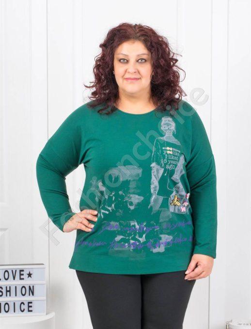 Комфортна макси блуза с модна щампа в зелено- Код 6709-2