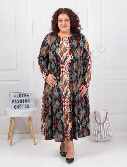 Плътна макси рокля в десен на ромбове-цвят каки-код 6085-42