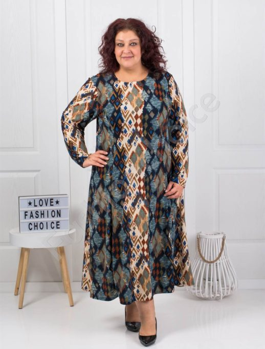 Плътна макси рокля в десен на ромбове-цвят петрол-код 6085-43