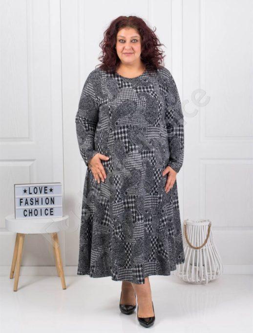 Плътна дълга макси рокля с мотиви в пепитен десен-код 096-2