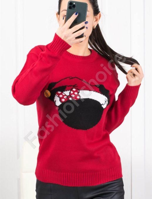 Свежо плетено коледно пуловерче в червено Код 1375-1