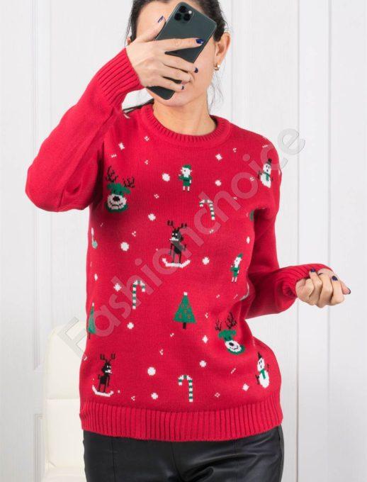 Красиво плетено коледно пуловерче в червено Код 1375