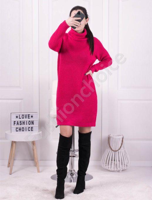Дамска дълга плетена рокля с поло яка в циклама-Код 1377-5