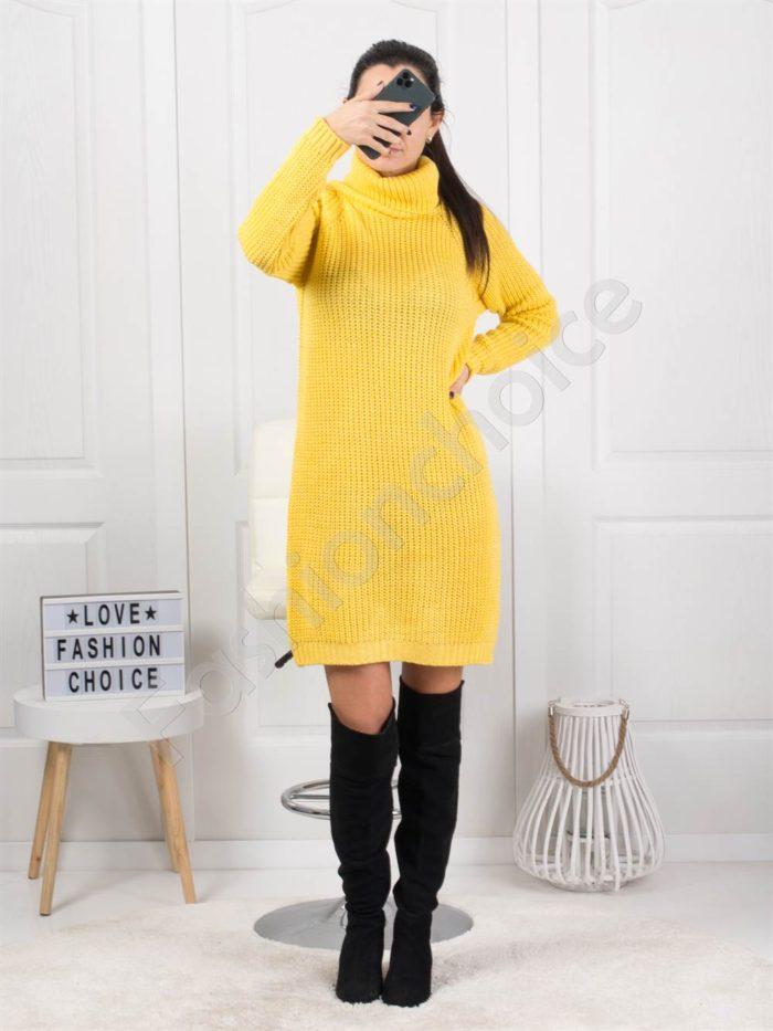 Дамска дълга плетена рокля с поло яка в жълто Код 1377-4