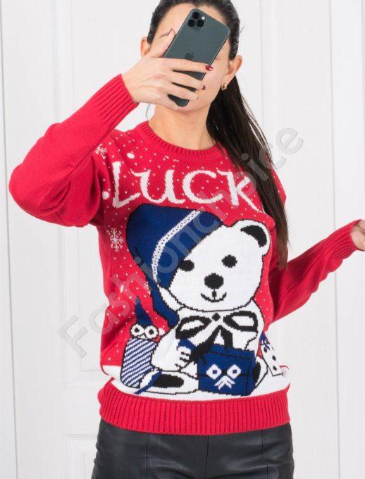 Щастливо коледно пуловерче в червено с кралско синьо-Код 1375-3