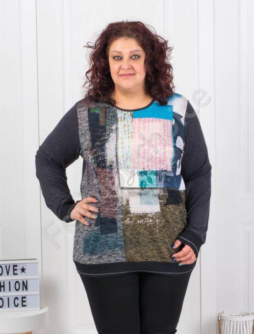 Свежа цветна макси блузка с абстрактни фигури- Код 6647