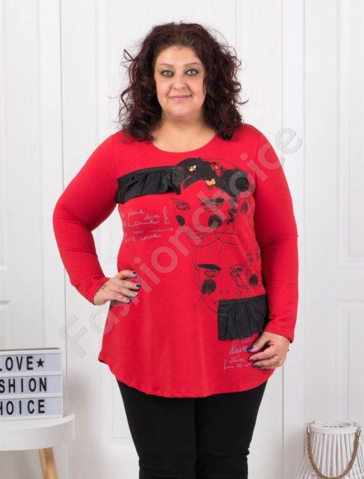 Свежа дамска макси блуза с интересна апликация- Код 6714