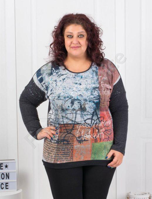 Кокетна цветна макси блузка - Код 6729