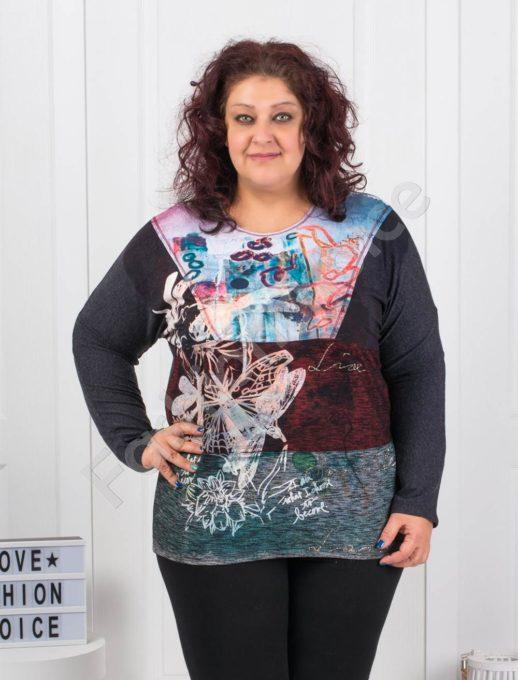 Цветна макси блузка с щампа на водно конче - Код 6649