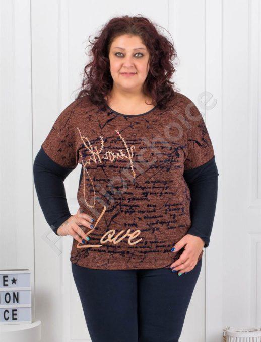 Плътна макси блузка с щампа и камъчета-керемида- Код 6675