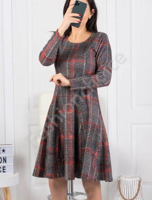 Зимна разкроена рокля в нежно каре -червено-Код 2009-2