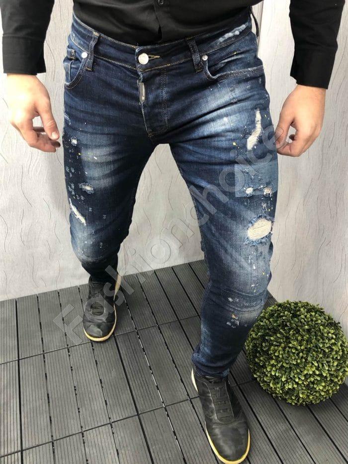 Мъжки дънки с леко надран ефект в син деним-код 2399