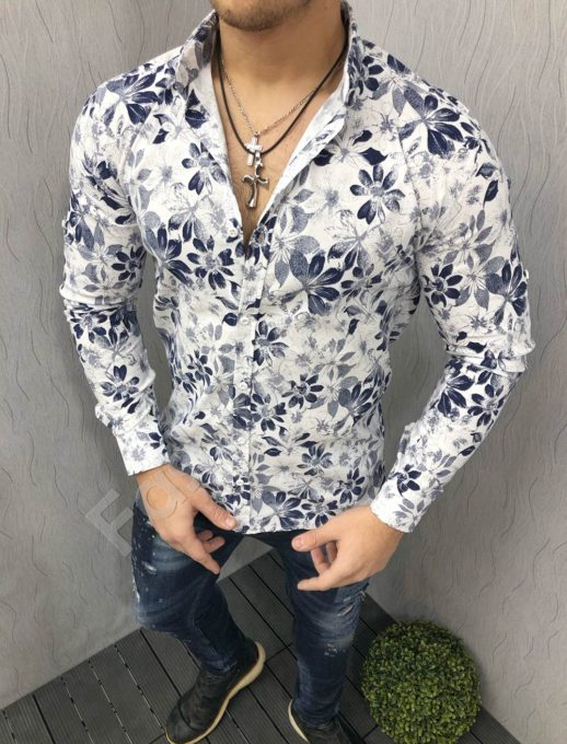 Мъжка риза с шарки и дълъг ръкав бяло/синя Код 1395-3