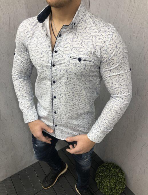 Мъжка риза в бяло с ефектен десен-код 1395-1