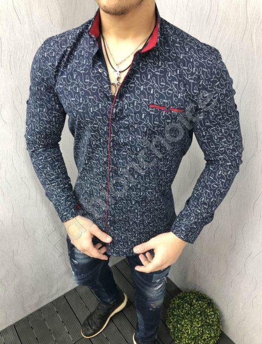 Стилна мъжка риза в тъмно синьо с ефектен десен-код 1395