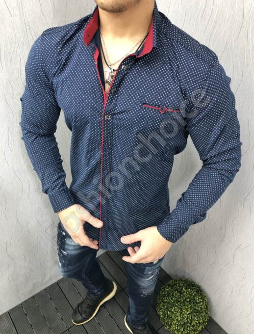Спортно/елегантна мъжка риза в тъмно синьо Код 1395-2