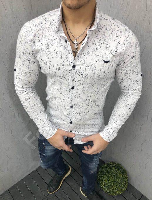 Мъжка риза в бяло с дълъг ръкав Код 1395-6