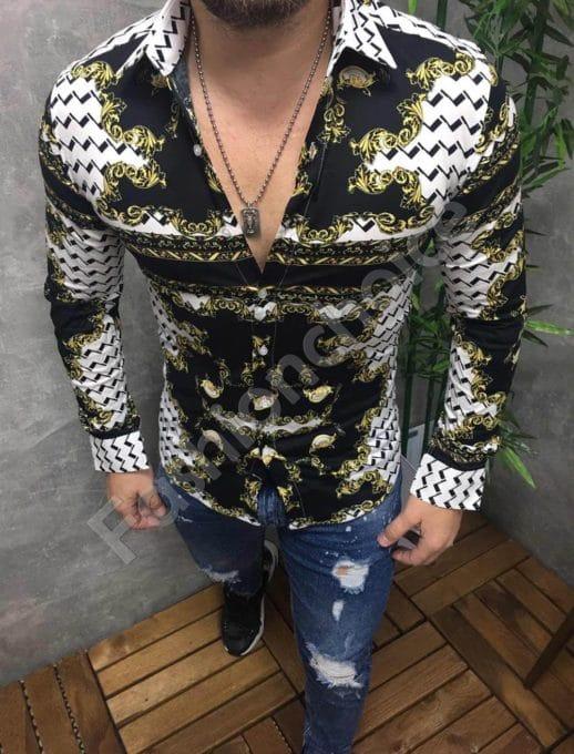 Свежа мъжка риза в модерен десен-код 1389-7
