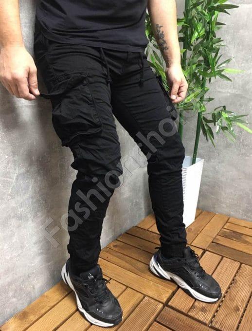 Мъжки панталон с джобове в черно-код 22575
