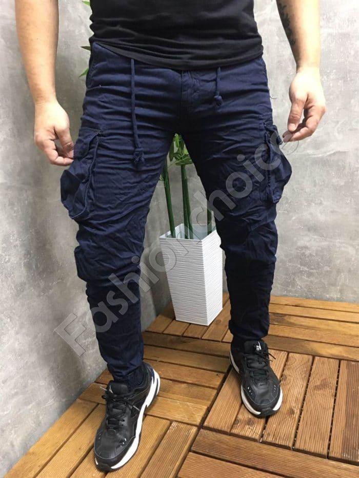 Мъжки панталон с джобове в тъмносиньо-код 22575-1