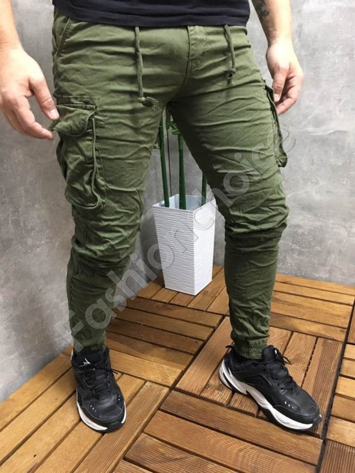 Мъжки панталон с джобове в цвят каки-код 22575-2