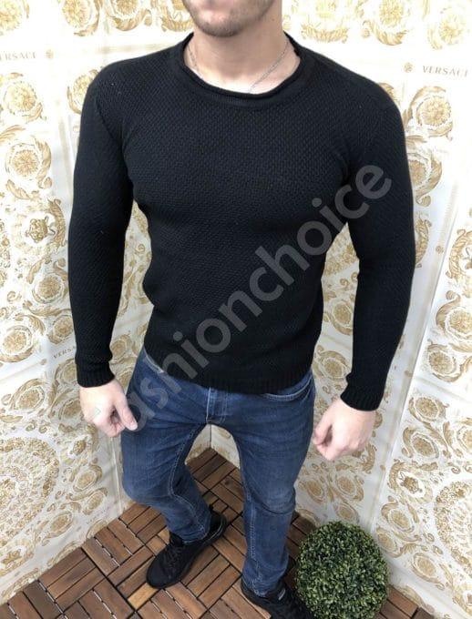 Изчистена мъжка плетена блуза в черно-Код 240-1