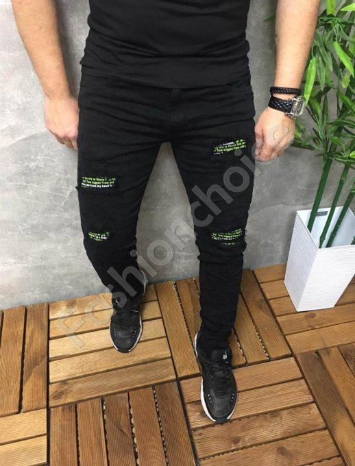 Мъжки черни дънки с цветни кръпки-код 563-777