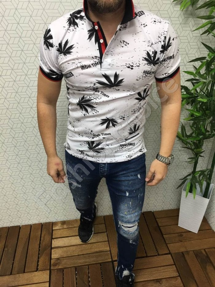Мъжка тениска с якичка в бяло код 8723