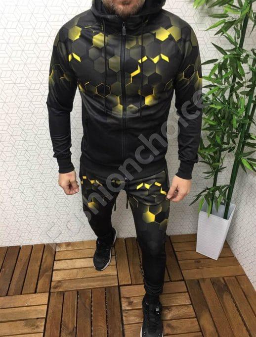 Мъжки комплект с преливащ десен-черно/жълто Код 337-201-1