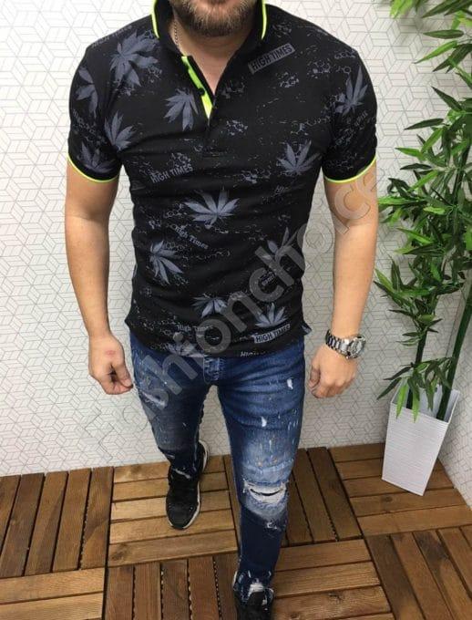Мъжка тениска с якичка в черно код 8723-1