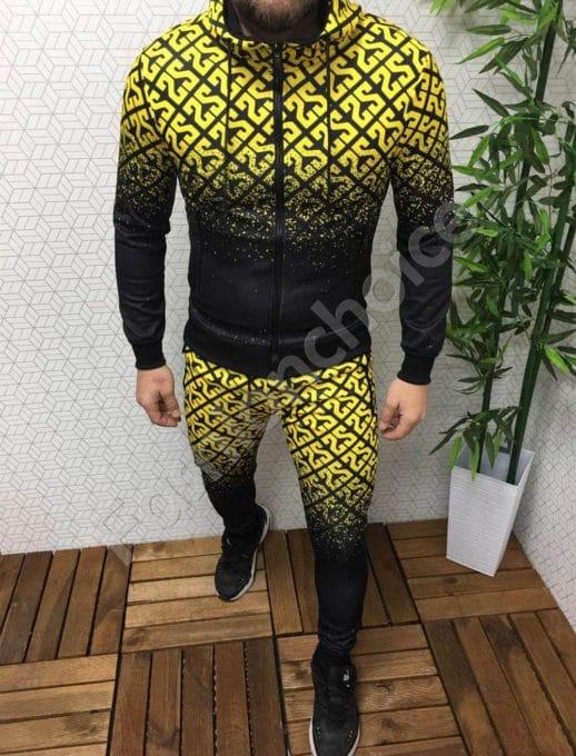Мъжки комплект в преливащ десен- черно/жълто Код 337-68